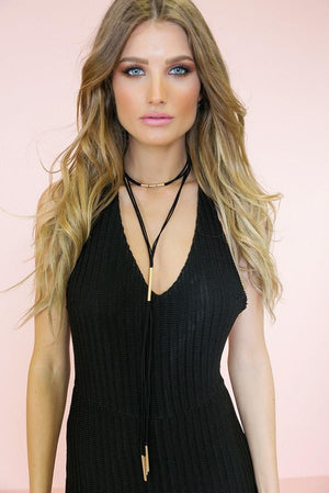 Long Road Necklace - Black - Haute & Rebellious