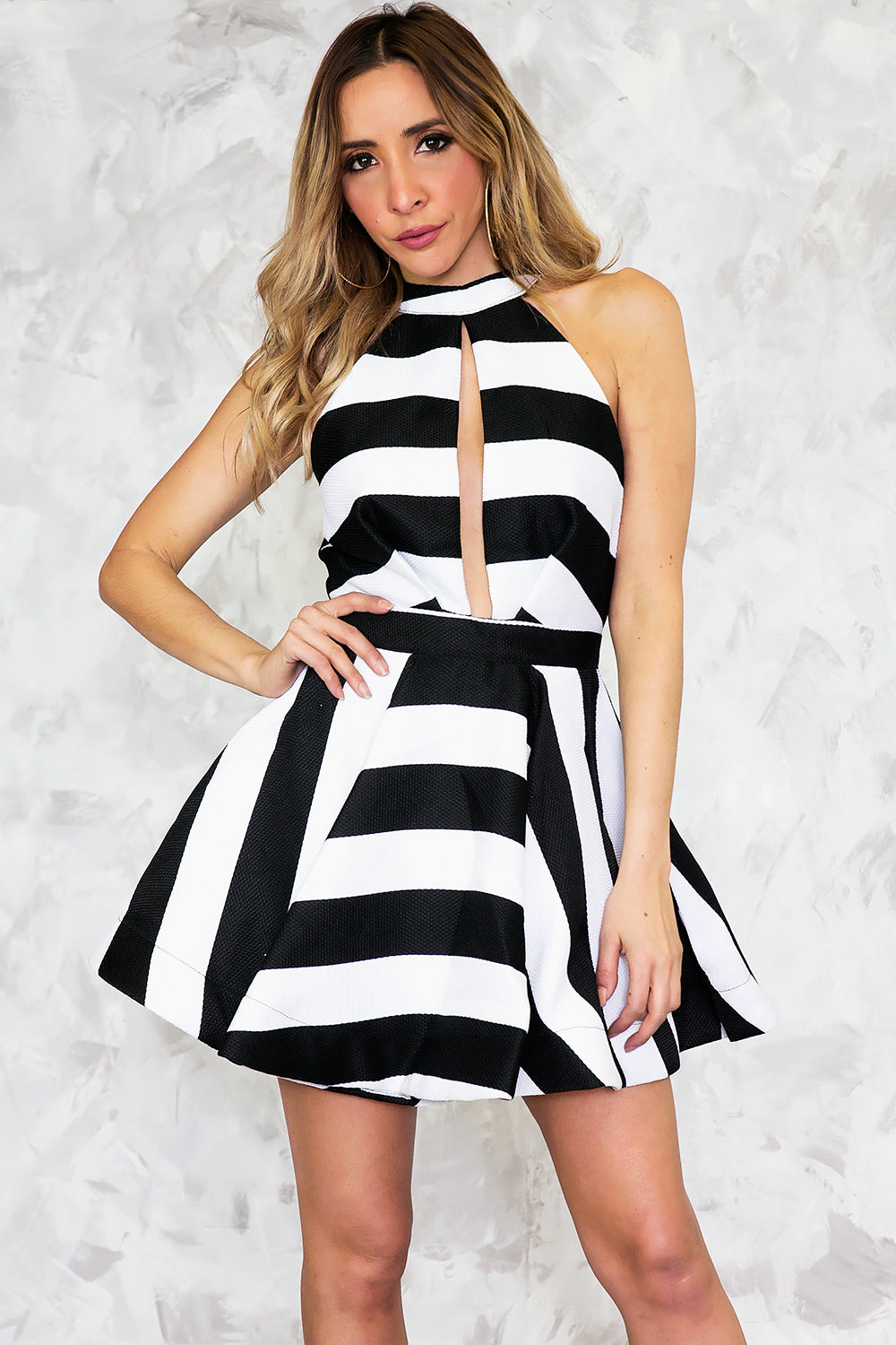 Striped Fit-&-Flair Dress