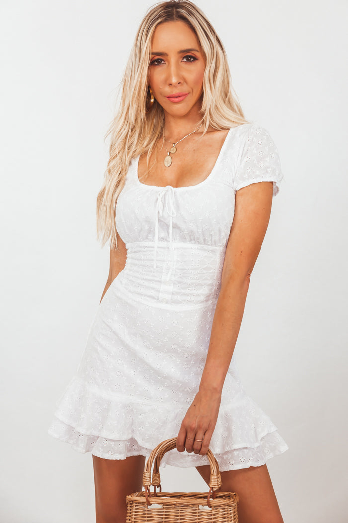 Cap-Sleeve Eyelet Mini Dress /// Only 1-M Left ///