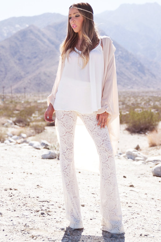 BELL FLOWER LACE PANT - Ivory