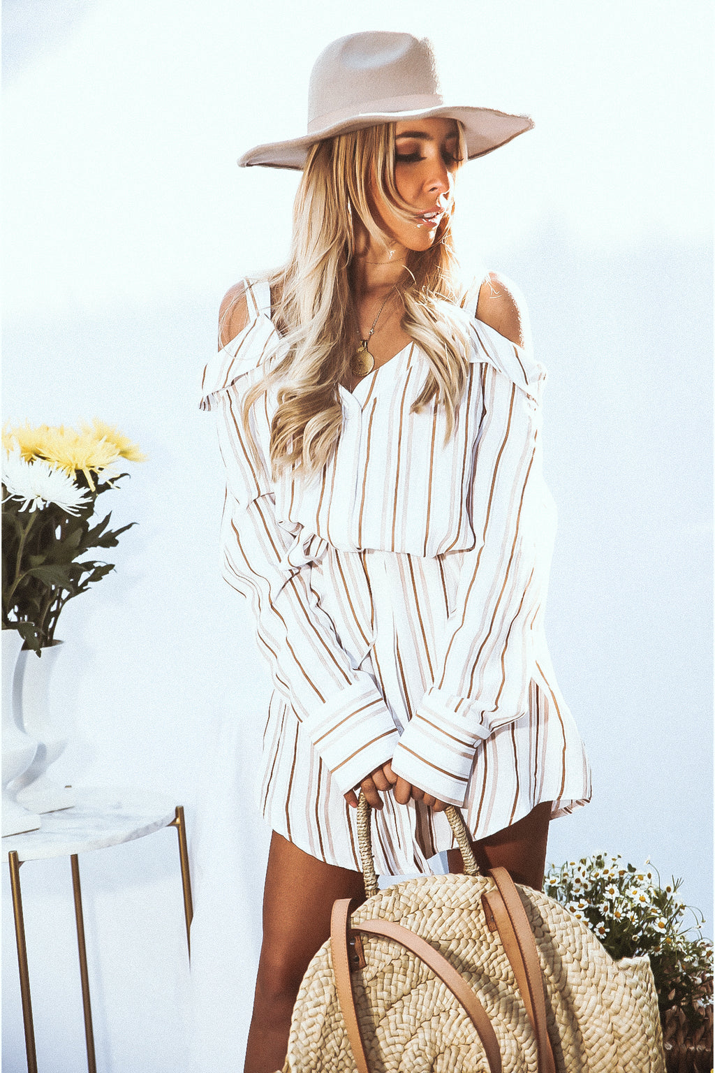 Striped Shirt Dress with Tie Waist