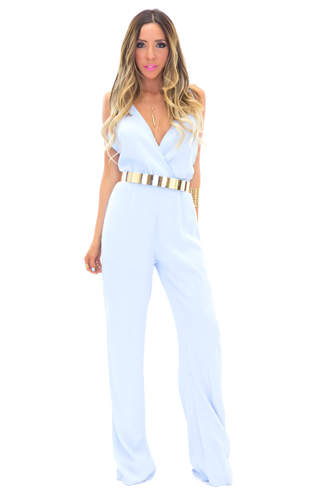 TORY OPEN BACK JUMPSUIT -  Powder Blue