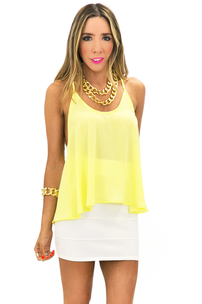 T-BACK CHIFFON TOP - Yellow - Haute & Rebellious
