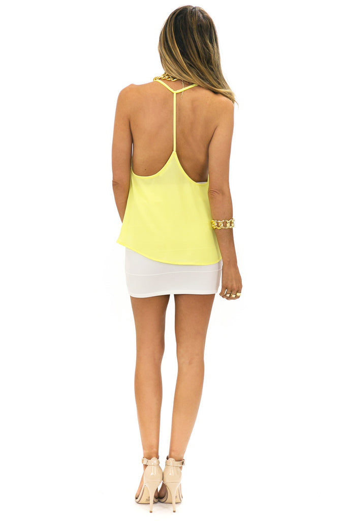 T-BACK CHIFFON TOP - Yellow