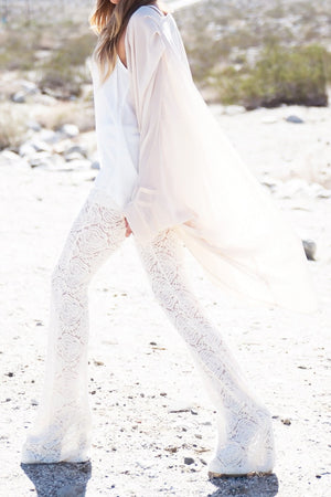 BELL FLOWER LACE PANT - Ivory - Haute & Rebellious