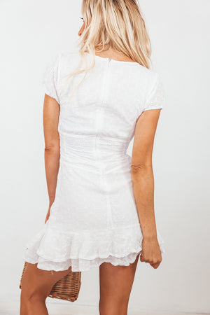 Cap-Sleeve Eyelet Mini Dress