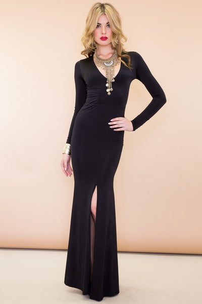 Mina Long Sleeve High-Slit Maxi Dress - Black /// Only 1-L Left ///