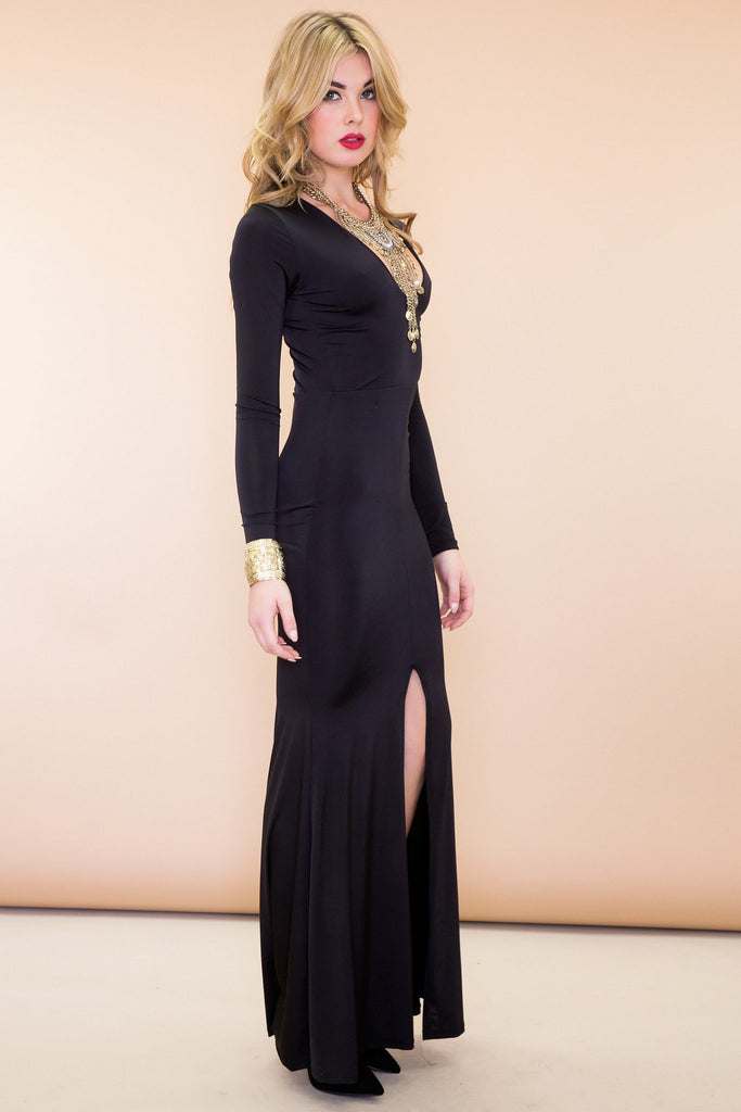 Mina Long Sleeve High Slit Maxi Dress Black Haute