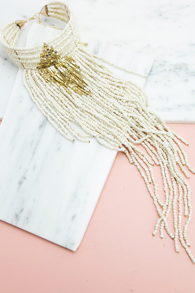 Fringe Gallore Choker - Off White - Haute & Rebellious