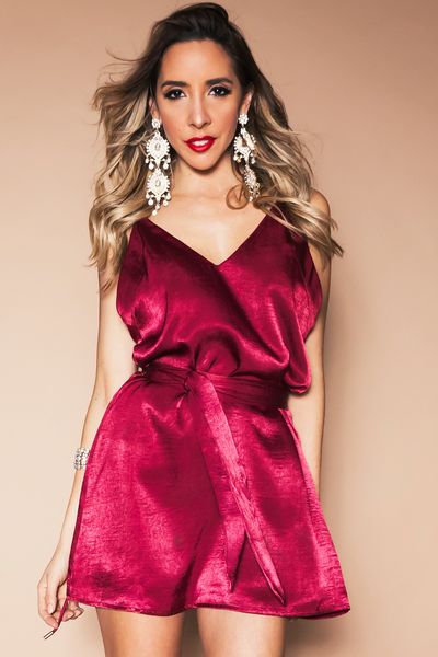 Satin Cami Dress - Crimson