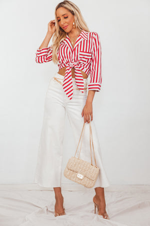 Front-Tie Collar Striped Blouse