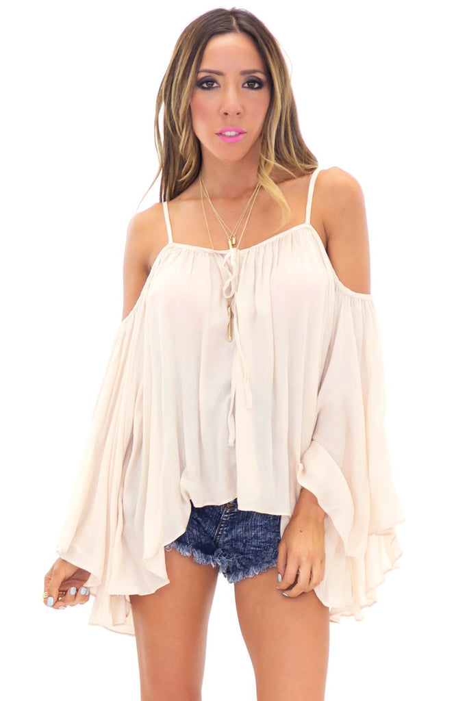 ADELLE OFF SHOULDER BELL SLEEVE TOP - Natural