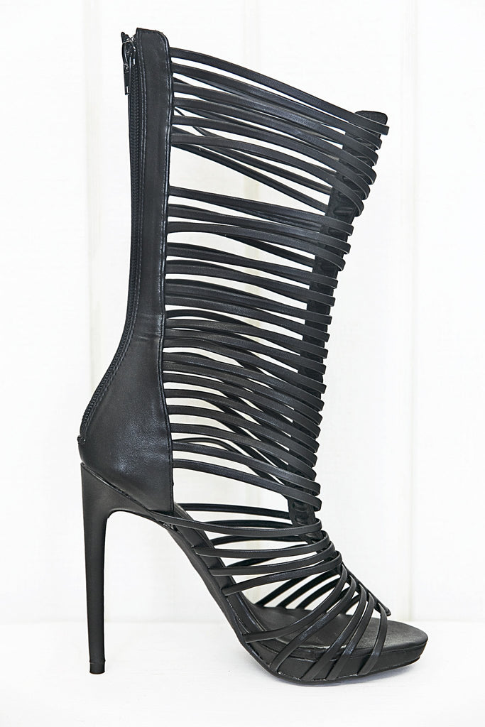 Lana High Strappy Sandal Heel - Black - Haute & Rebellious