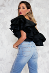 One-Shoulder Oversize Ruffle Top
