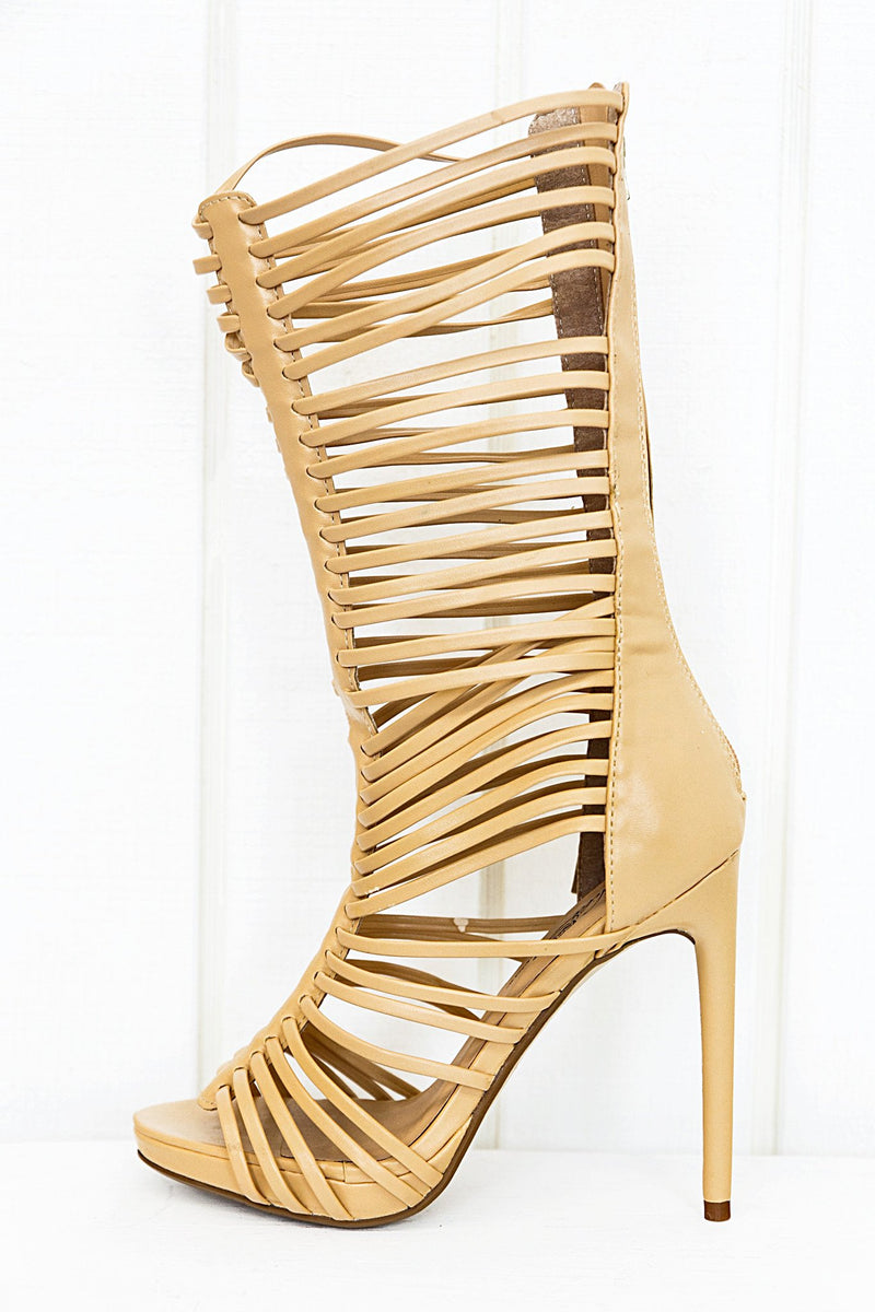 Lana High Strappy Sandal Heel - Natural - Haute & Rebellious