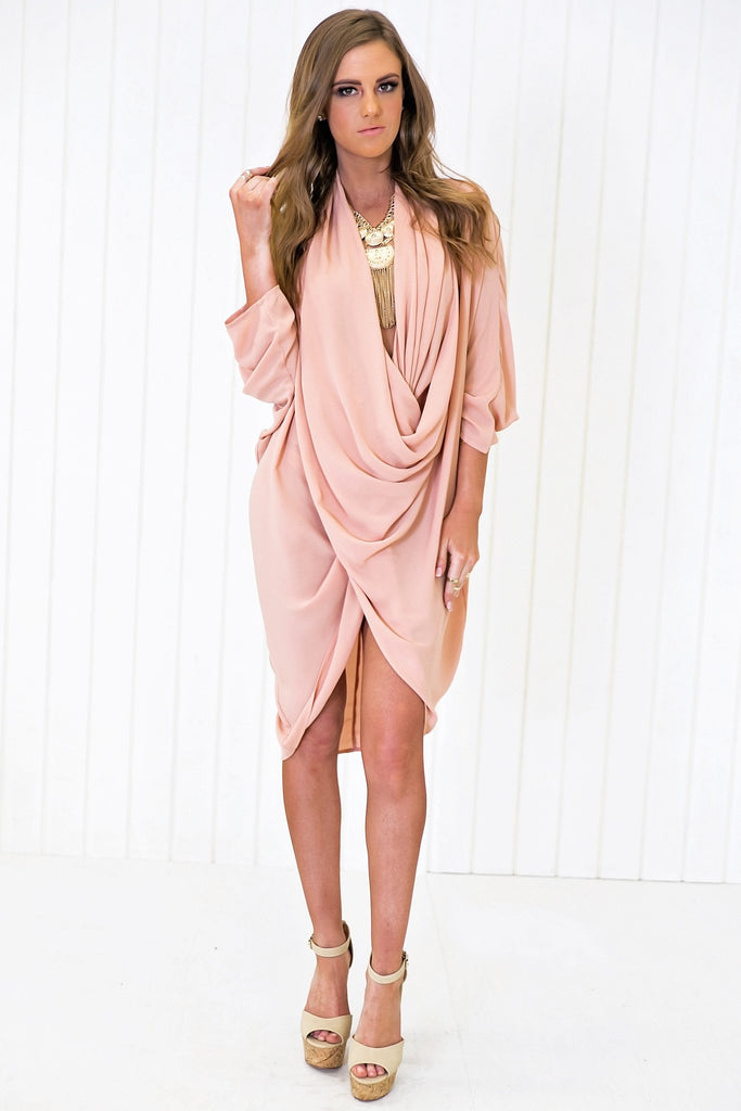 Brit Wrap Drape Tunic - Dark Rose