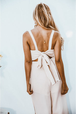 Crop Jumpsuit with Slits - Oatmeal