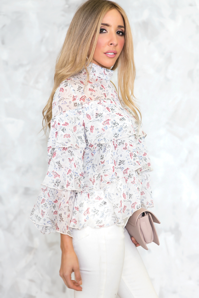 Ruffle Layered Floral Top