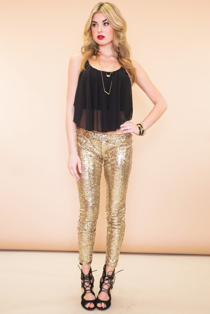 Sequined Legging Pant - Gold