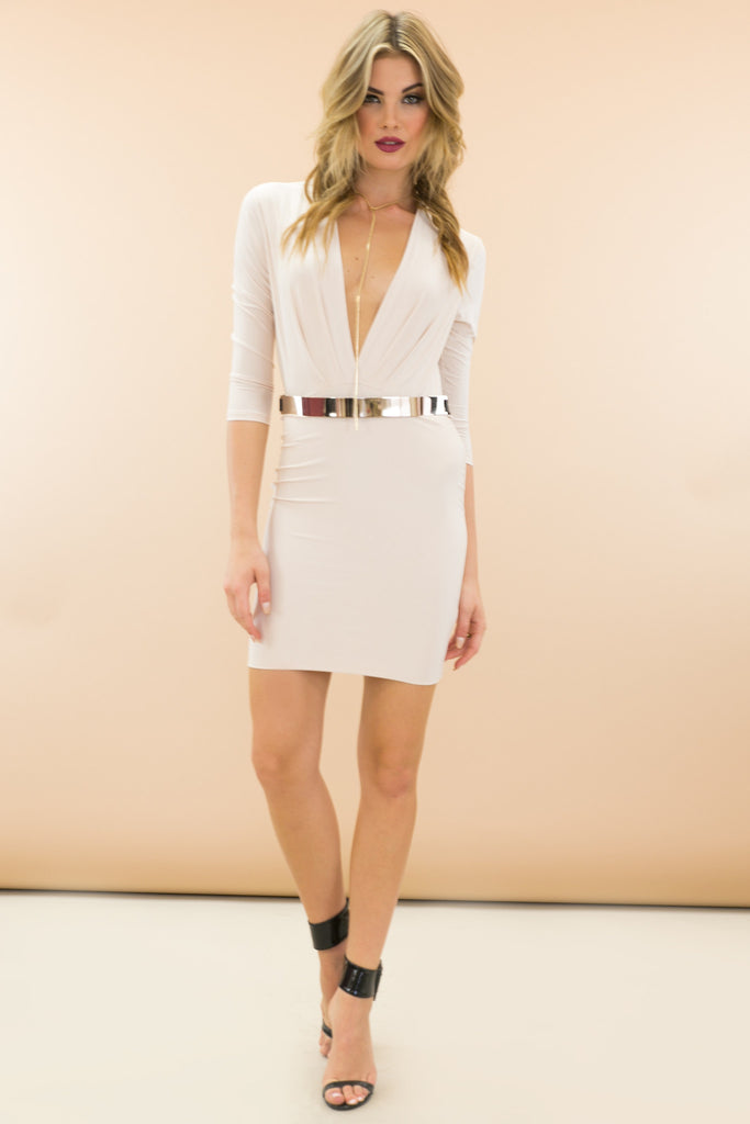 Veneta Plunging Neckline Bodycon Dress - Nude