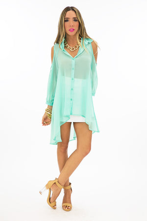 SHOULDER CUTOUT BLOUSE - Mint - Haute & Rebellious