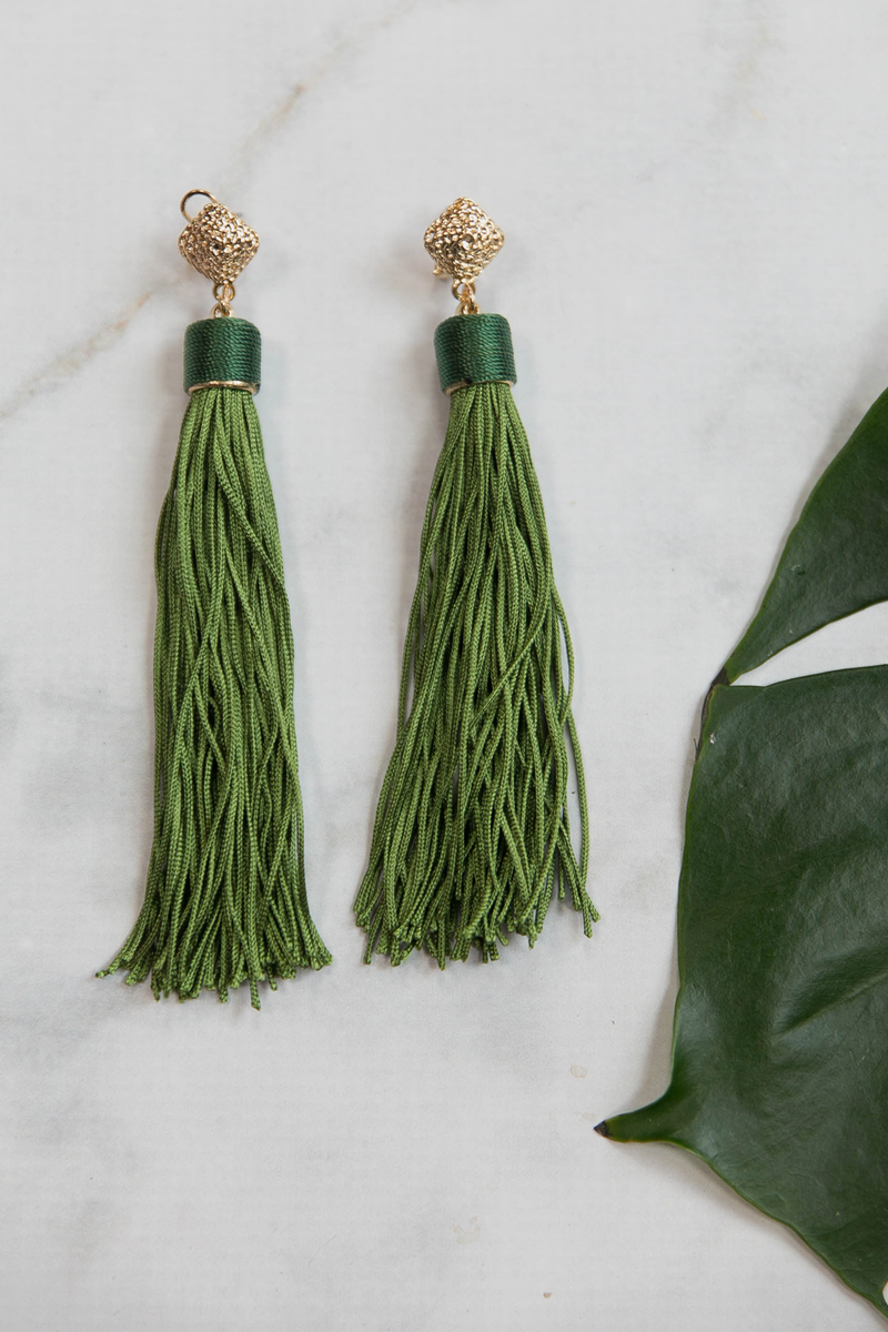 Fringe on me Earrings - Green - Haute & Rebellious