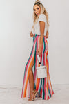 Multi-Color Stripe Pants with Side Slits