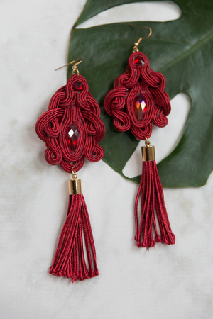 Tropical Escape Fringe Earrings - Maroon - Haute & Rebellious