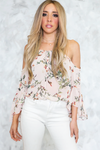 Floral Cutout Shoulder Top /// ONLY 1-L LEFT/// - Haute & Rebellious