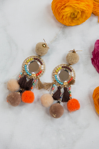 Pom Pom Fiesta Earrings - Nudes
