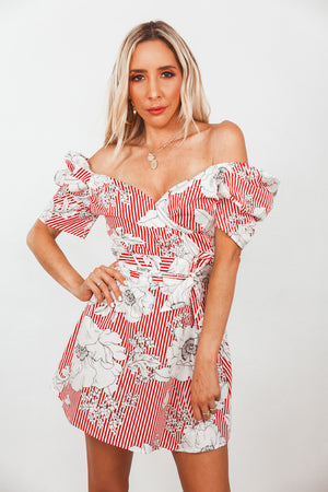 Floral Striped Wrap Tie Dress