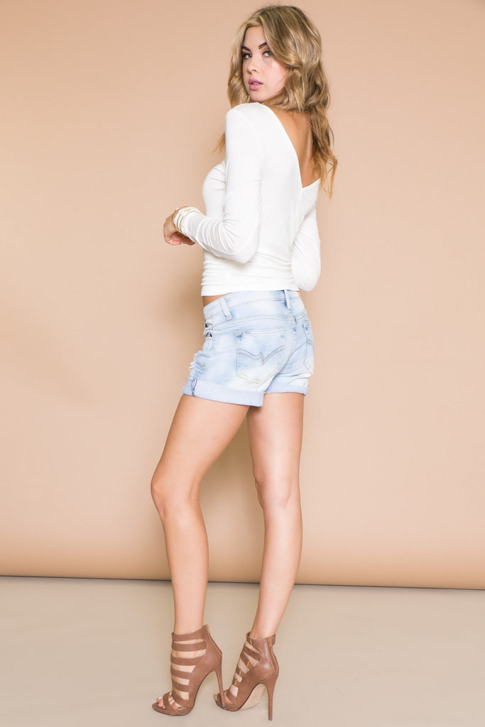 Maxwell Distressed Denim Boyfriend Shorts - Haute & Rebellious
