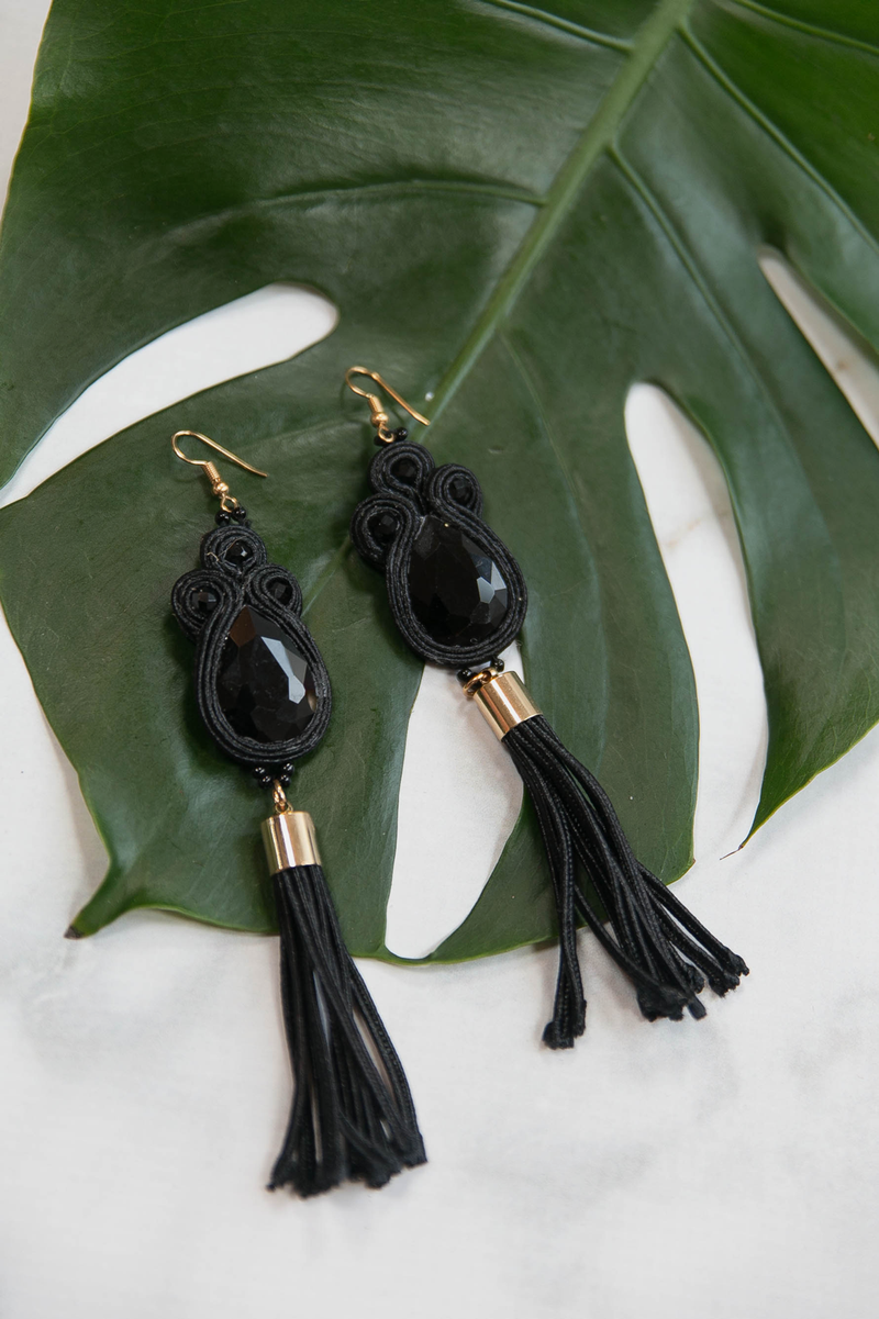 Don't Forget Me Fringe Earrings - Black - Haute & Rebellious