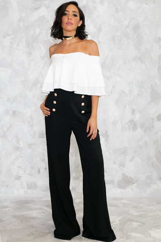 Sorry Sweatheart Neckline Jumpsuit - White