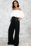 High Life Gold Button Palazzo Pant - Haute & Rebellious