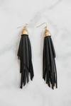 Aller Leather Fringe Earrings - Black - Haute & Rebellious