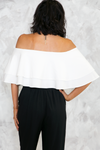 Celia Ruffle Off-Shoulder Top - White - Haute & Rebellious