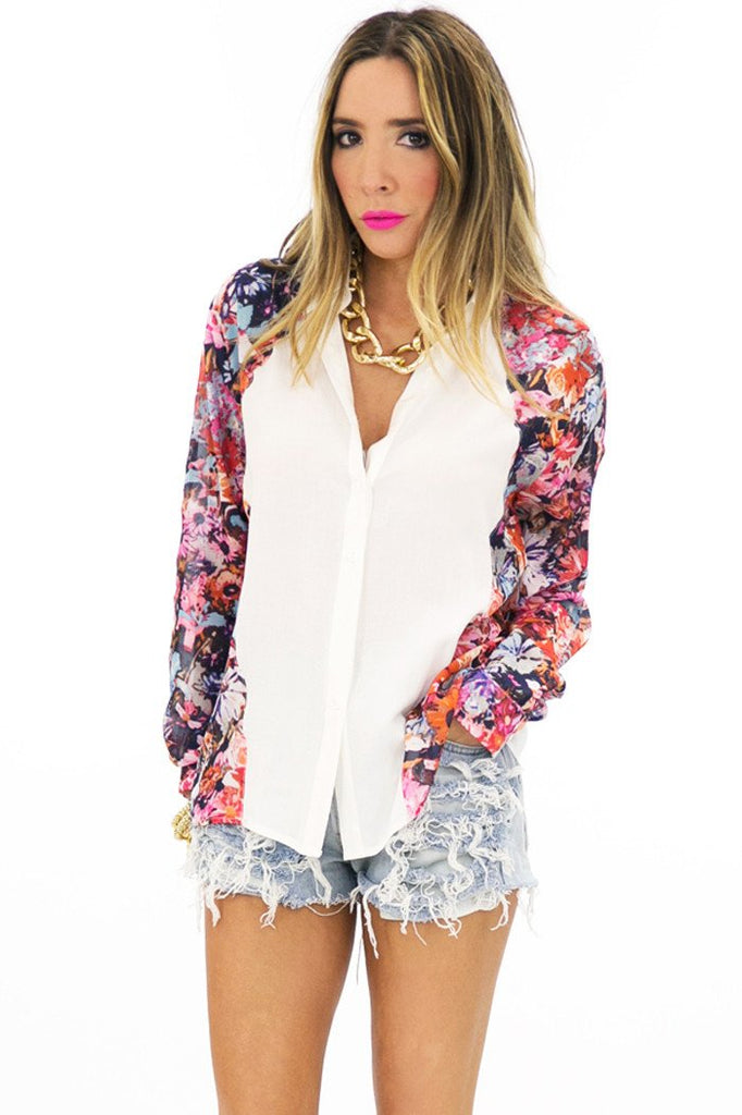 IN BLOOM CONTRAST TOP - Haute & Rebellious