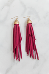 Aller Leather Fringe Earrings - Fuchsia - Haute & Rebellious