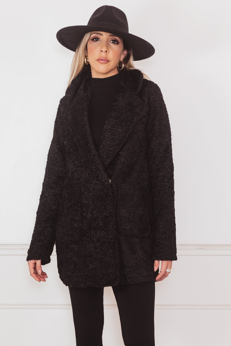 Terry Fur Coat Blazer - Black
