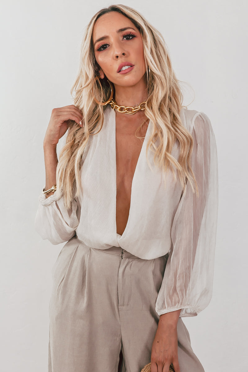 Sheer Sleeve Wrap Plunging Bodysuit