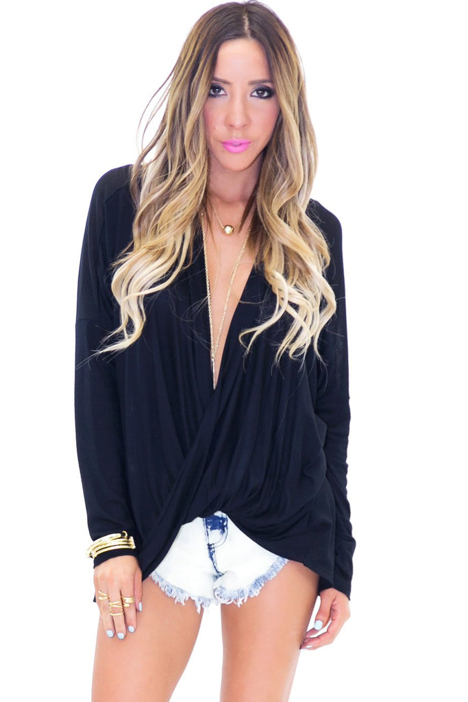 LEA CRISS CROSS LIGHT WEIGHT TOP - Black