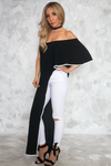 Louv Off The Shoulder High-Low Wrap Blouse - Haute & Rebellious