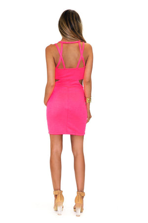 NEON CUTOUT SIDE STRAPPY DRESS - Haute & Rebellious