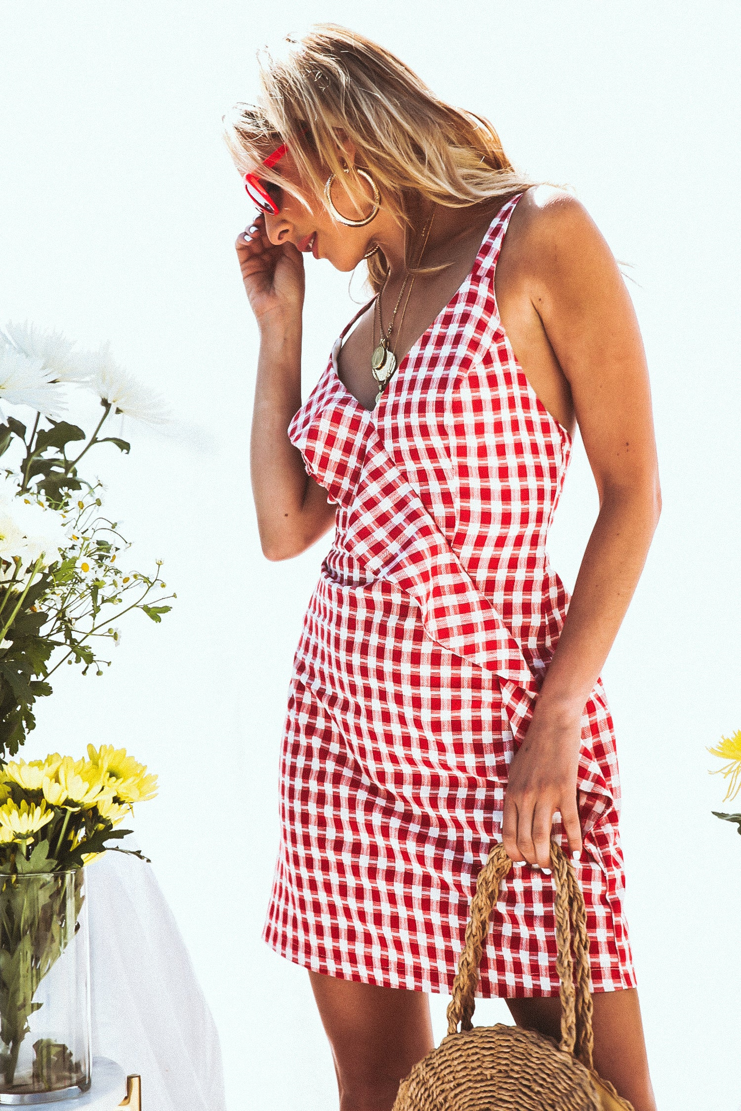 ad0f80833eaec Gingham Mini Dress with Ruffle - Red