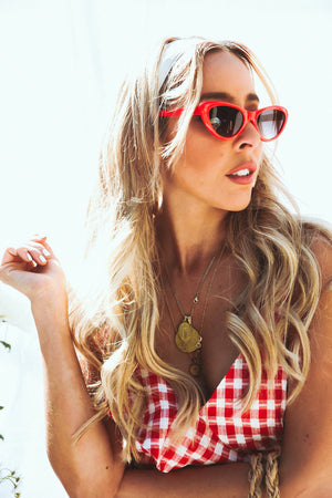 Cat-Eye Sunglasses - Red