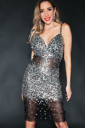 Mesh & Sequin Evening Body-Con Dress - Silver