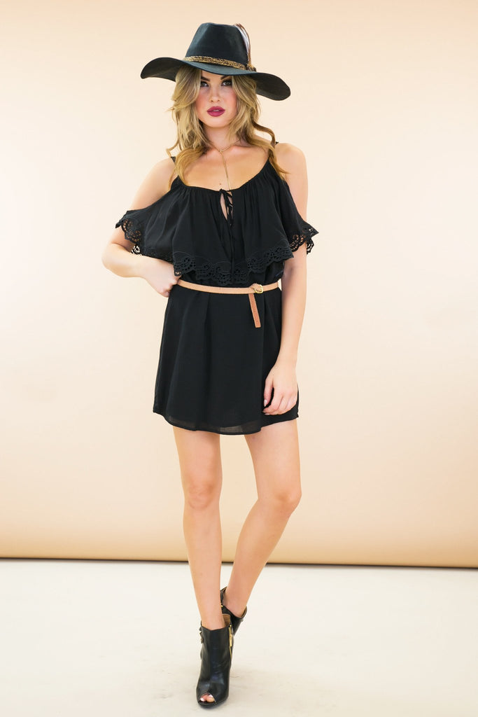 Ahna Off Shoulder Cutout Boho Dress - Black