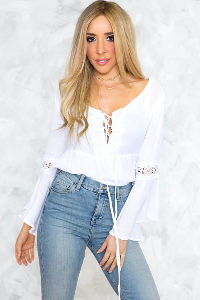 Lace-Up Bell-Sleeve Babydoll Top