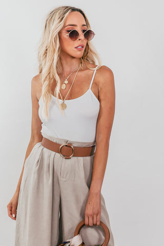 Just Us Lace-Up Back Modern Top
